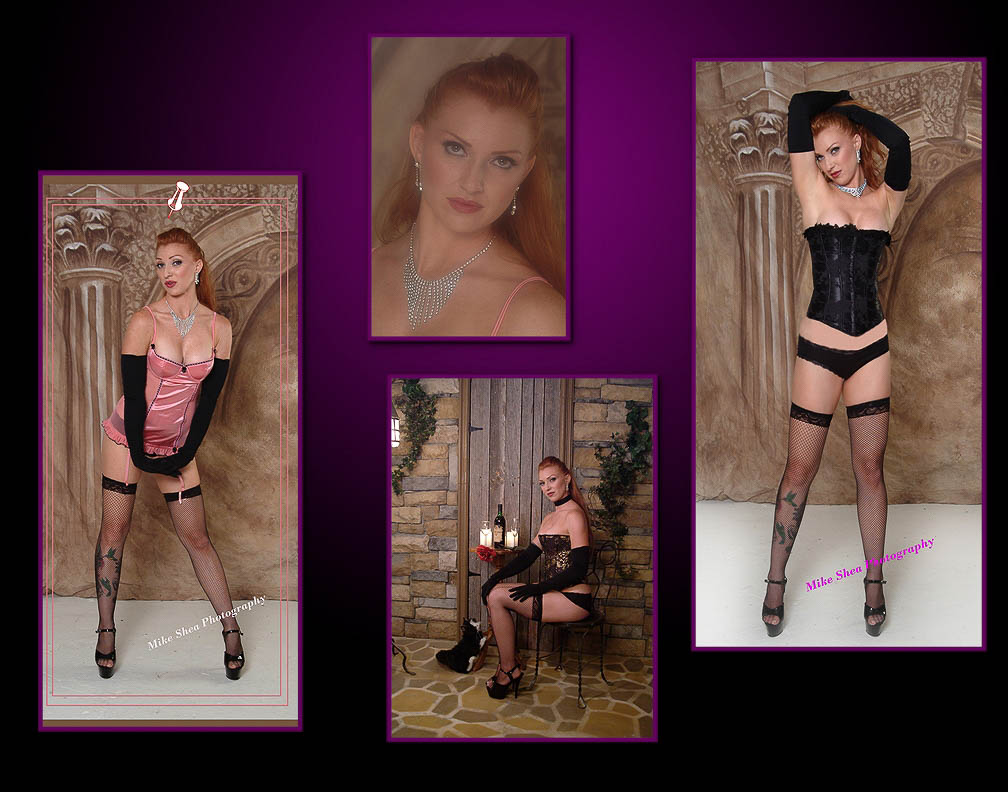 Redhead composite with various lingerie during empowering boudoir session