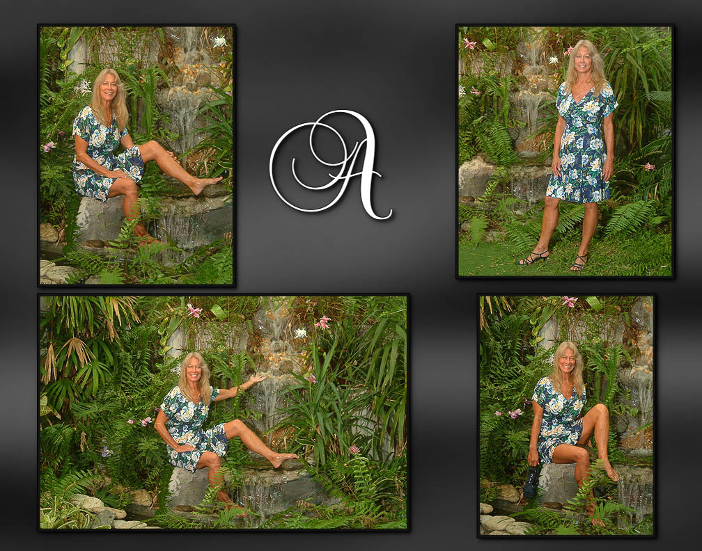 Anne, attractive woman in garden in front of waterfall, boudoir session celebrating a time in her life