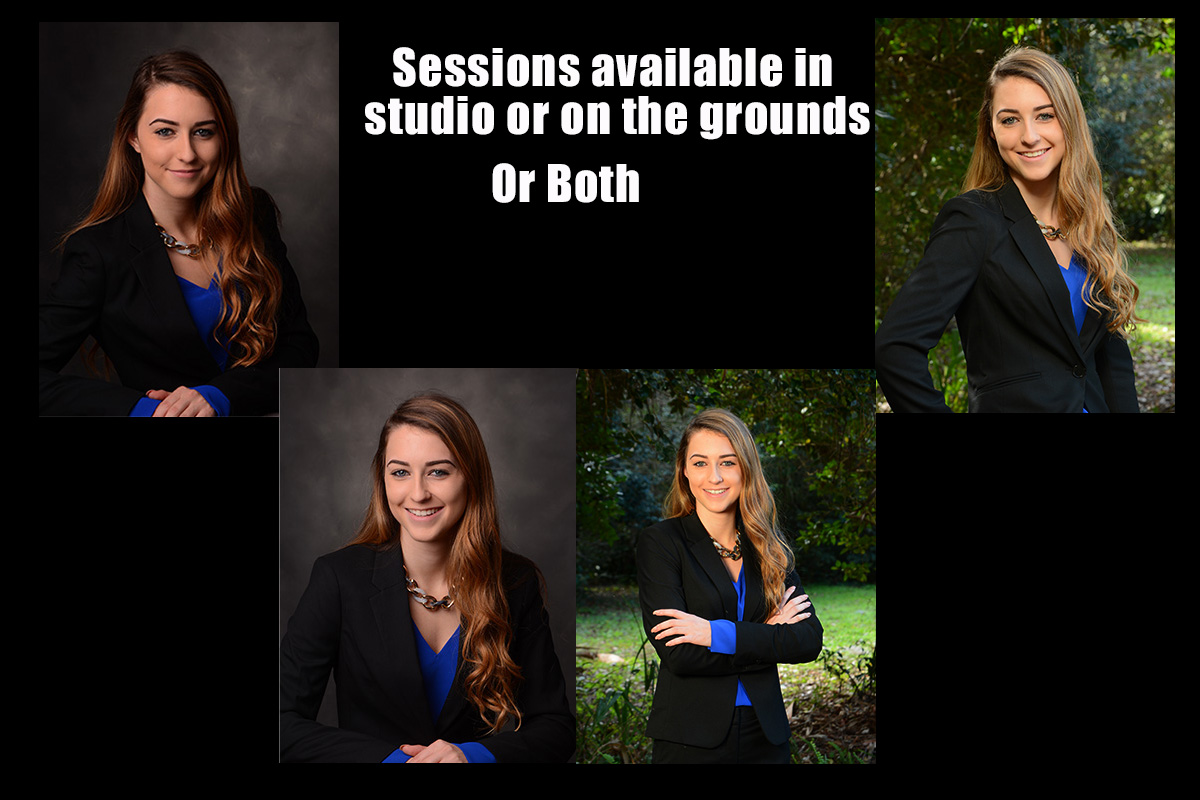 Attractive female Realtor with four images both studio and on the grounds outside