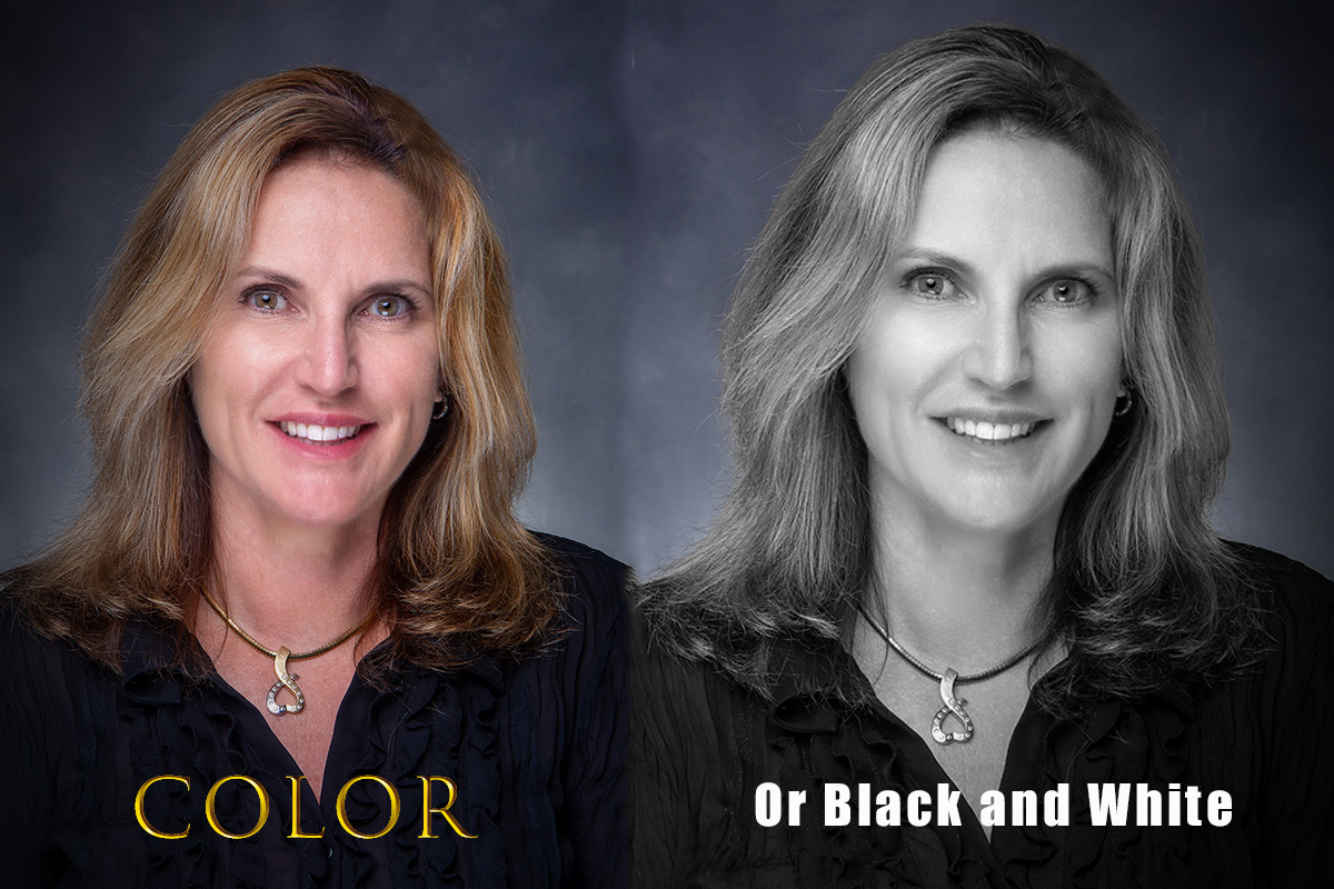 Blonde haired blue eyed Realtor with color and black and white image