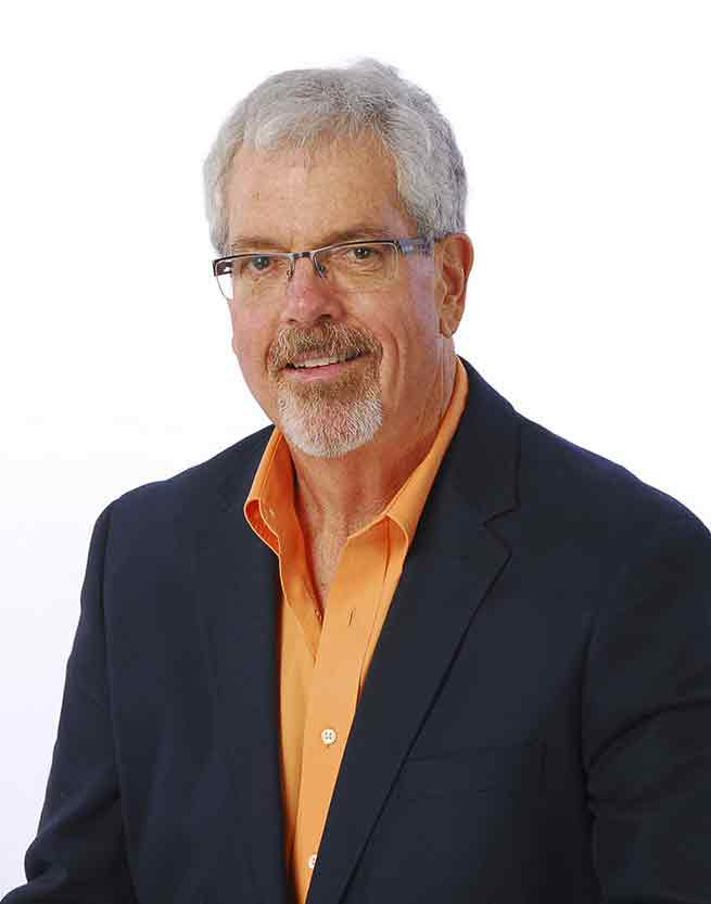 Radio personality Storm Roberts, dashing gentleman with silver hair on a white background
